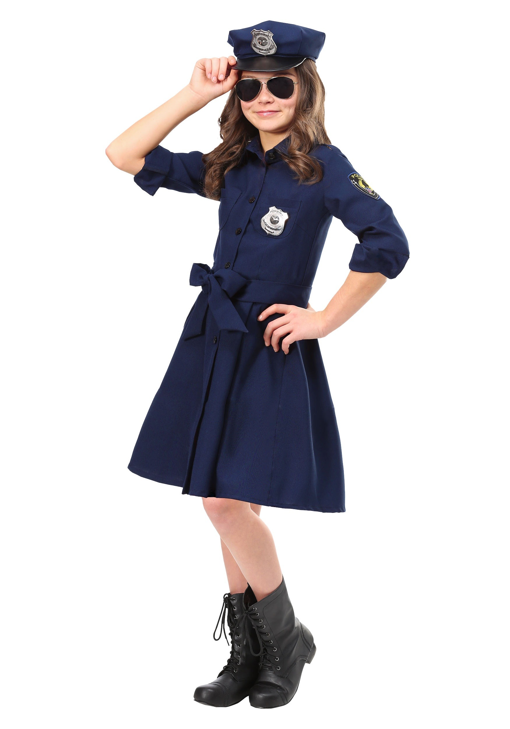 Police Officer Cop Costume for Girls