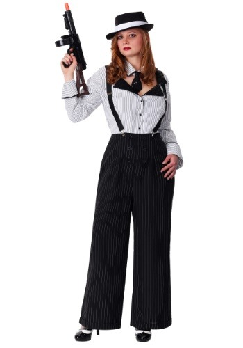 Plus Size Pinstripe Gangster Costume