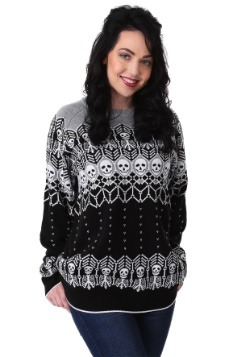 Black and White Skeleton Adult Ugly Halloween Sweater