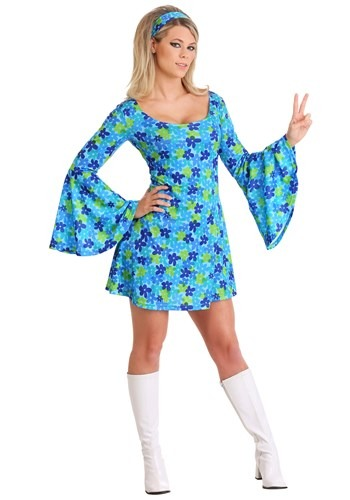 70s Wild Flower Dress Costume Plus Women's