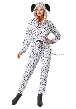 Women's Plus Cozy Dalmatian Jumpsuit Costume