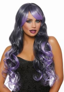 Long Wavy Black/Lavender Ombre Wig