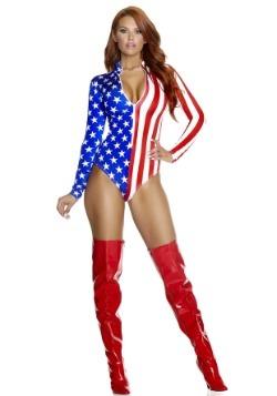 Women's Zipfront American Flag Bodysuit