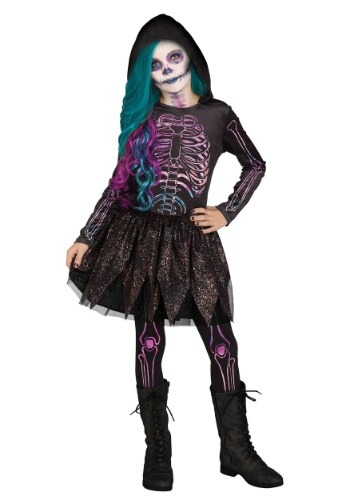 Girl's Galaxy Skeleton Costume