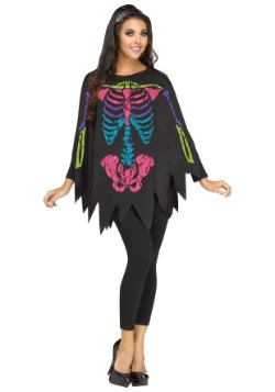 Adult Color Bones Poncho Costume