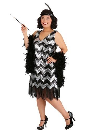 Plus Size Fringe Silver and Black Flapper Dress