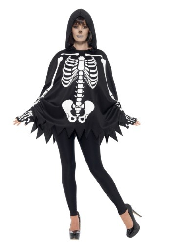 Adult Poncho Skeleton Costume