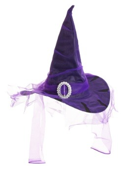 Black Witch Hat with Purple Veil