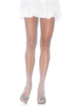 Women's White Shimmer Fishnet Tights