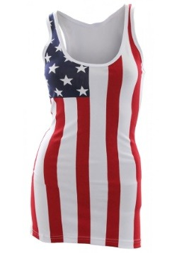 Women's USA Flag Tank Top Swim Suit Cover Up