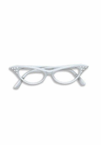 50s White Rhinestone Glasses