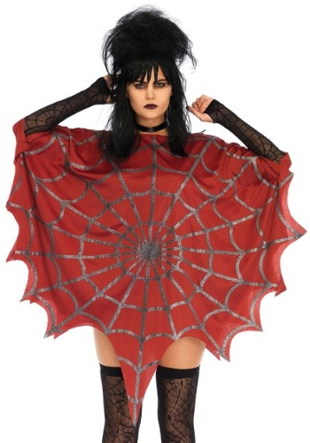 Red Glitter Web Poncho