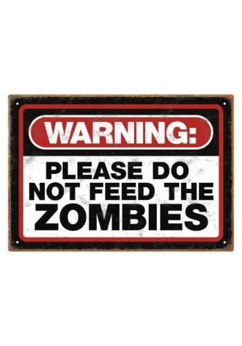 Zombie Warning Tin Sign
