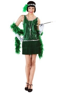 Women's Sequin & Fringe Green Flapper Costume upd1