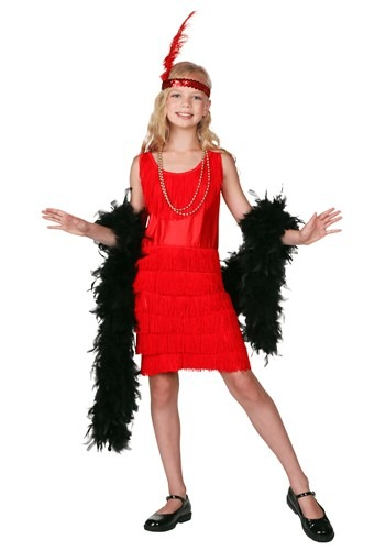 Child Red Fringe Flapper Costume Update Main