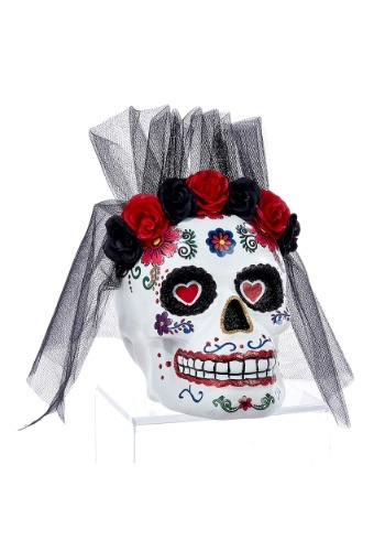 "11"" Day of the Dead Mrs. Skull Tablepiece Décor"