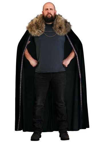 Black Faux Fur Collar Viking Cape