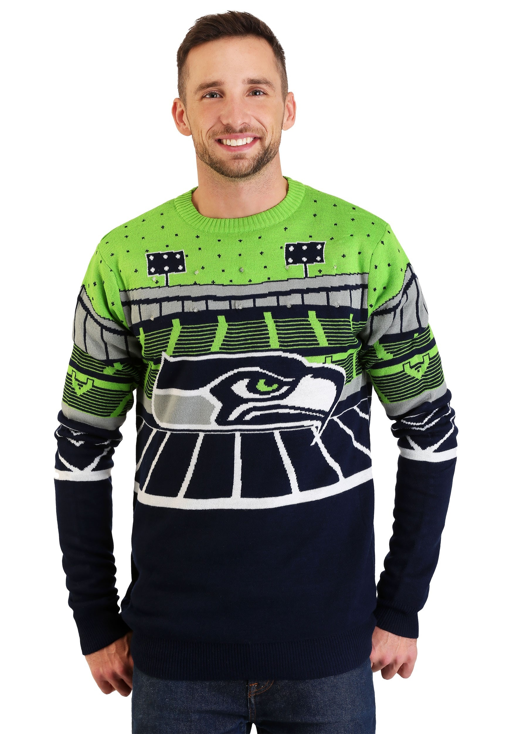 Light Up Christmas Sweater.Seattle Seahawks Light Up Bluetooth Ugly Christmas Sweater