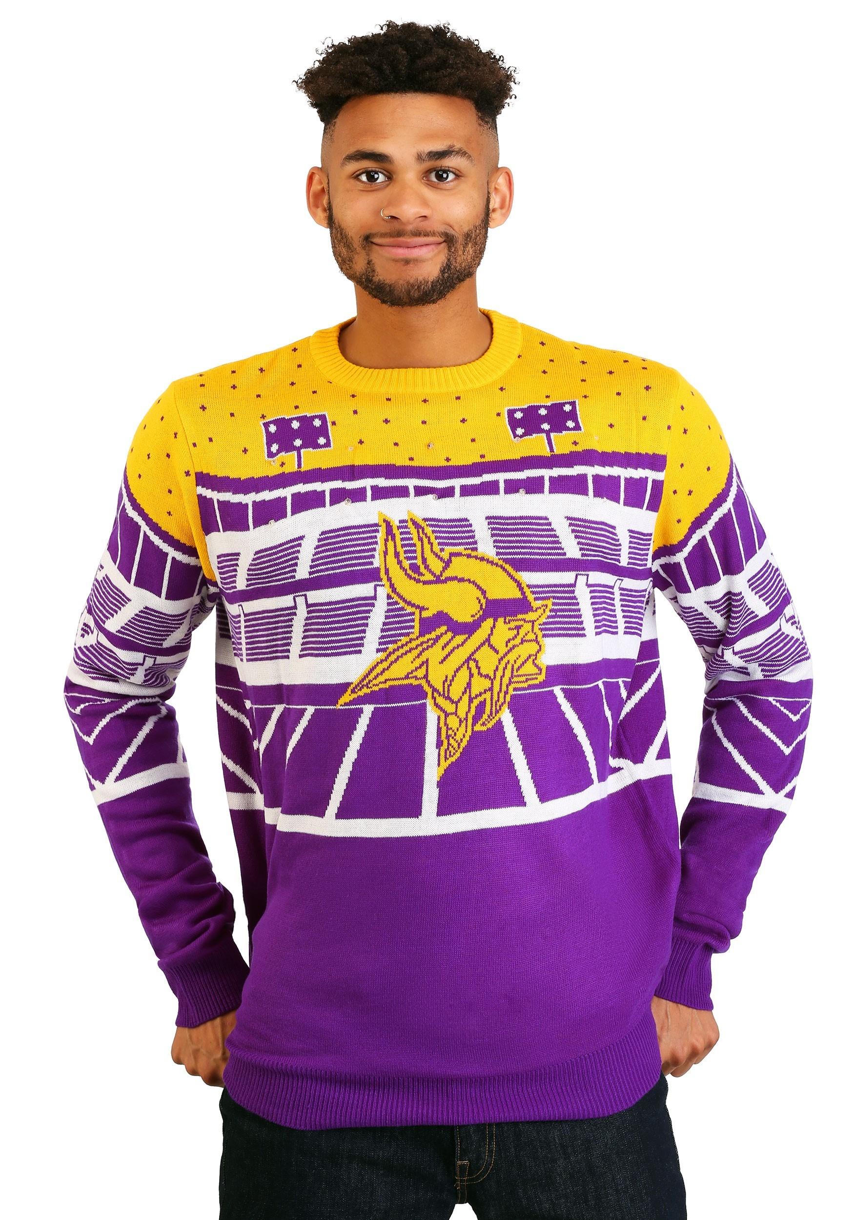 sports shoes 34bf9 3de8d Minnesota Vikings Light Up Bluetooth Ugly Christmas Sweater