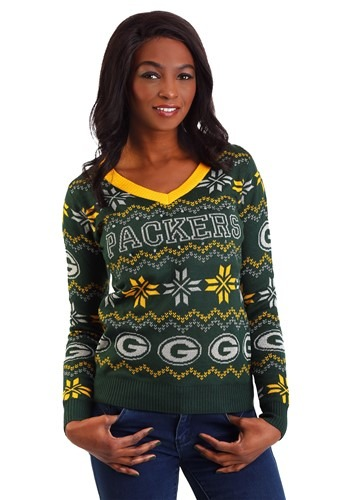 sports shoes 270e8 a782f Green Bay Packers Womens Light Up V-Neck Bluetooth Sweater
