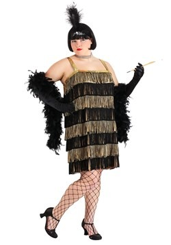 Plus Size Fringe Gold Flapper Costume Update Main1