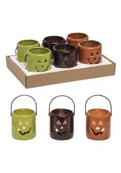 Ceramic Jack-O-Lantern Tea Light Holder Set of 6 Decorations