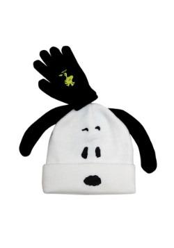 Snoopy Kids Big Face Pom Beanie w/ Glove Set