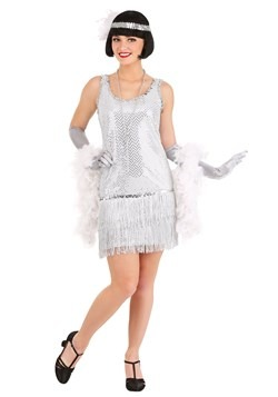 Silver Plus Size Flapper Costume Dress