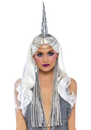 Silver Unicorn Headband with Chain Accent and Mane