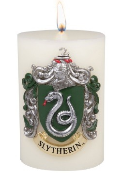 Harry Potter Slytherin Sculpted Insignia on a White Candle
