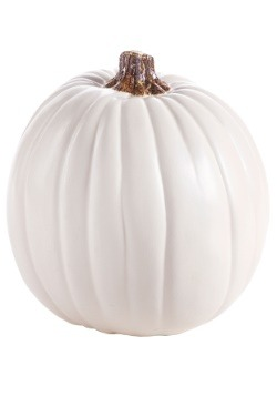 "Carvable 9"" Artificial Cream and White Pumpkin"