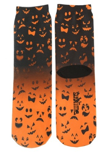Halloween Jack O' Lantern Faces Adult Crew Cut Socks