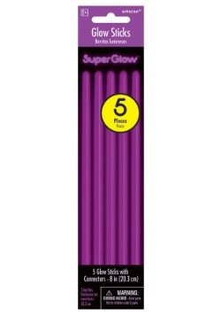 Pack of 5 Purple Glowsticks - 8""