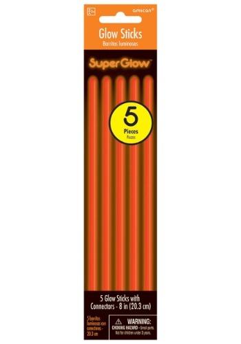 "Orange Glowsticks 8"" Pack of 5"