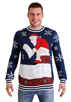 Tipsy Elves Mens Roof Santa Ugly Christmas Sweater