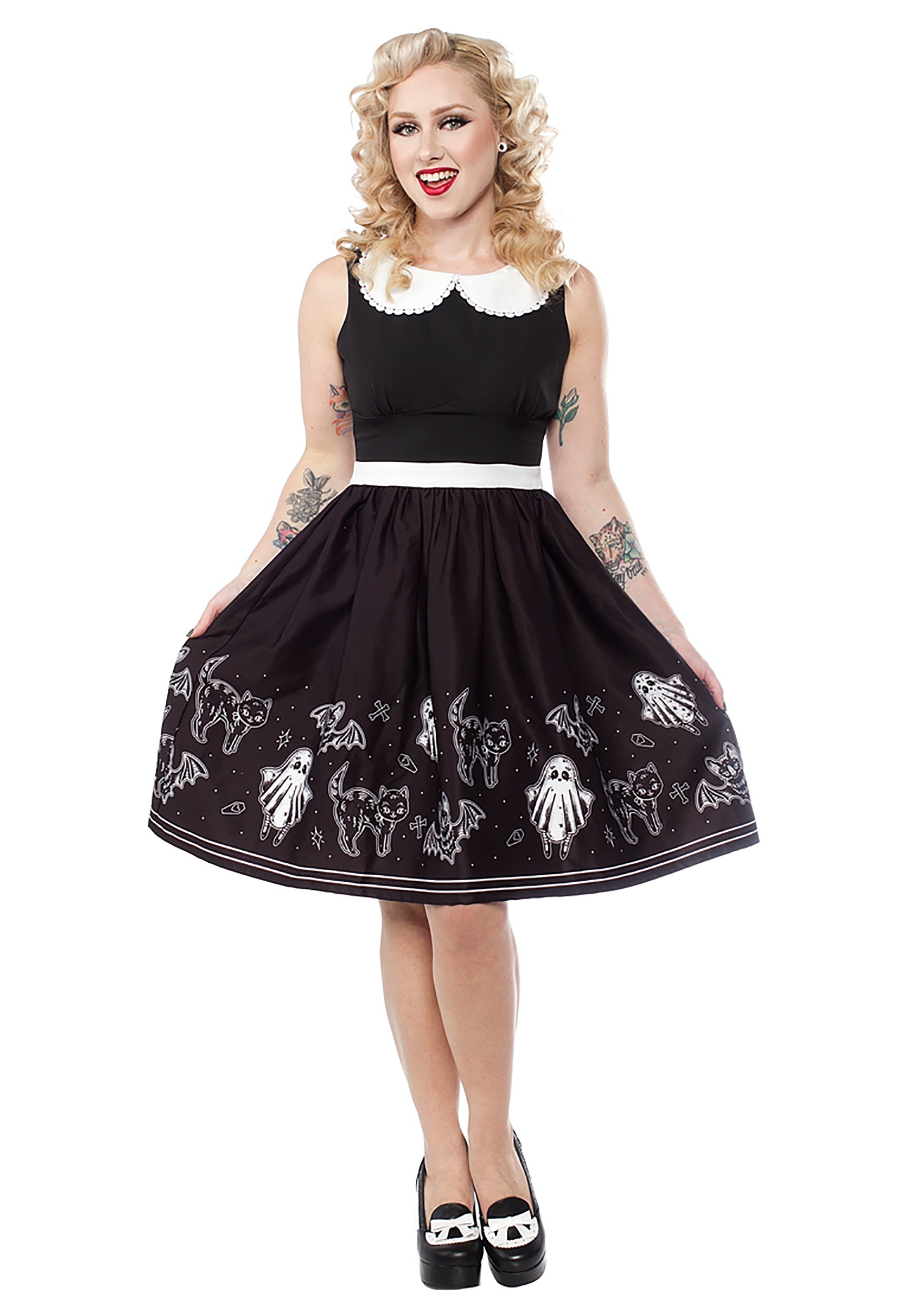INOpets.com Anything for Pets Parents & Their Pets Sourpuss So Cute Its Spooky Women's Halloween Shift Dress
