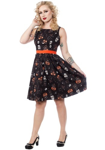 Sourpuss Black Cats Halloween Shift Dress