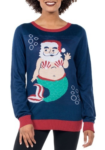 Women's Tipsy Elves Mermaid Santa Ugly Sweater