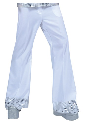 Teen White Sequin Cuff Disco Pants