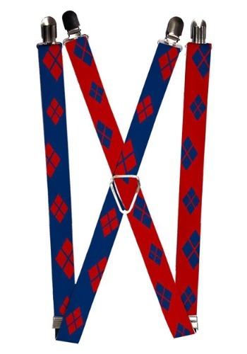 """Harley Quinn Blue/Red 1"""" Suspenders"""
