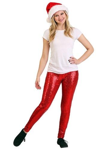 Tipsy Elves Women's Red Sequin Leggings