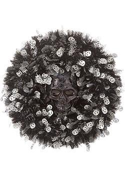 Tinsel Skull 18in Halloween Wreath