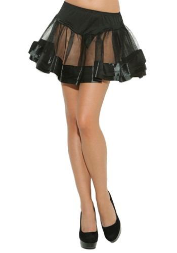 Black Satin Women's Petticoat