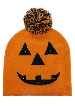 Light Up Jack O Lantern Knit Pompom Beanie