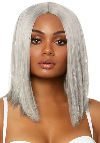 Silver Tinsel Long Bob Wig