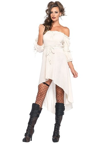 Women's White Hi-Lo Pirate Dress Costume