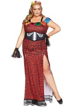 Womens Plus Deluxe Day of the Dead Beauty Costume