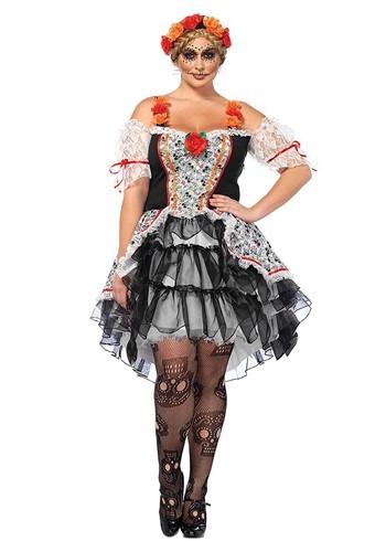 Women's Plus Sugar Skull Senorita Costume