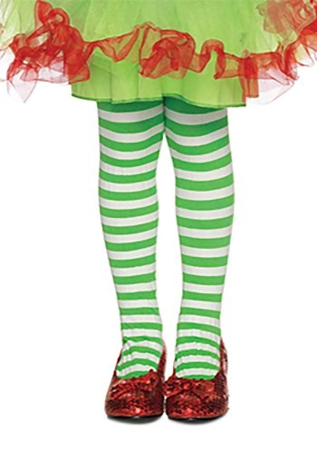 Kids Green and White Striped Tights