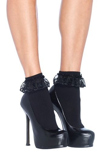 Black Lace Ruffle Ankle Socks